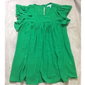 Emerald green ruffled blouse M